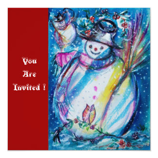 SNOWMAN WITH OWL , New Year's Eve Party Card