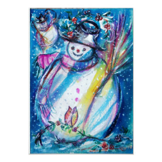 SNOWMAN WITH OWL,New Year's Eve Party Ice Metallic Card