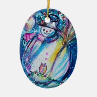SNOWMAN WITH OWL CHRISTMAS TREE ORNAMENTS