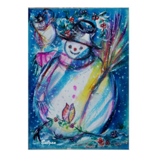 SNOWMAN WITH OWL POSTER