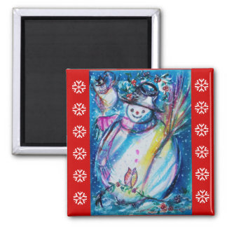 SNOWMAN WITH OWL / Red White Snowflakes Magnet