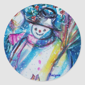SNOWMAN WITH OWL STICKERS