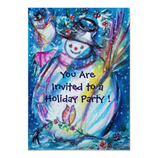 SNOWMAN WITH OWL WINTER HOLIDAY PARTY CARD