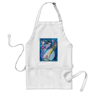 Snowman with Owl, Winter Season Adult Apron
