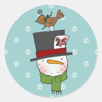 Snowman with Partridge Sticker