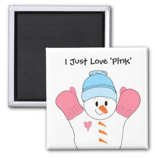 Snowman with Pink Mittens Refrigerator Magnet