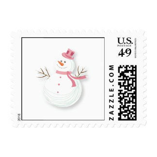 Snowman With Pink Scarf Stamps