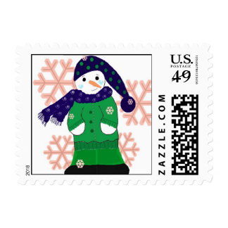 Snowman with Pink Snowflakes Postage