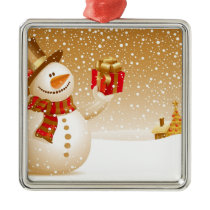 Snowman With Presents Metal Ornament