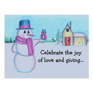 Snowman with Red Bird Folk Art Drawing Postcard