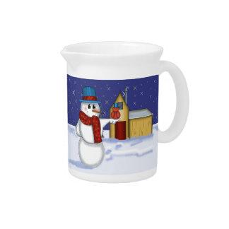 Snowman with Red Bird Folk Art Drink Pitcher