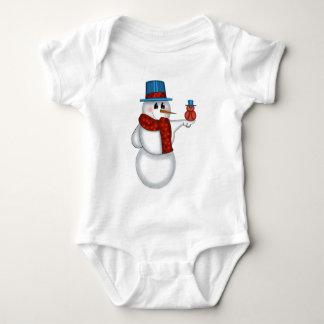 Snowman with Red Bird Folk Art Infant Creeper