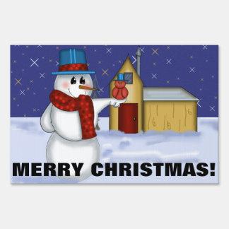 Snowman with Red Bird Folk Art Lawn Sign