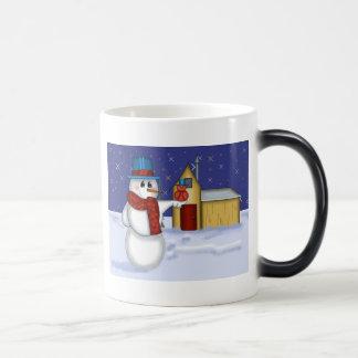 Snowman with Red Bird Folk Art Magic Mug