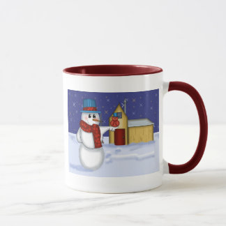 Snowman with Red Bird Folk Art Mug