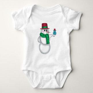 Snowman with Red Bird Folk Art T-shirt