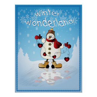 Snowman with Red Christmas Hearts Poster