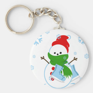 Snowman with red hat and ice skates keychain