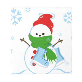 Snowman with red hat and ice skates notepad