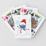 Snowman with red hat bicycle card deck
