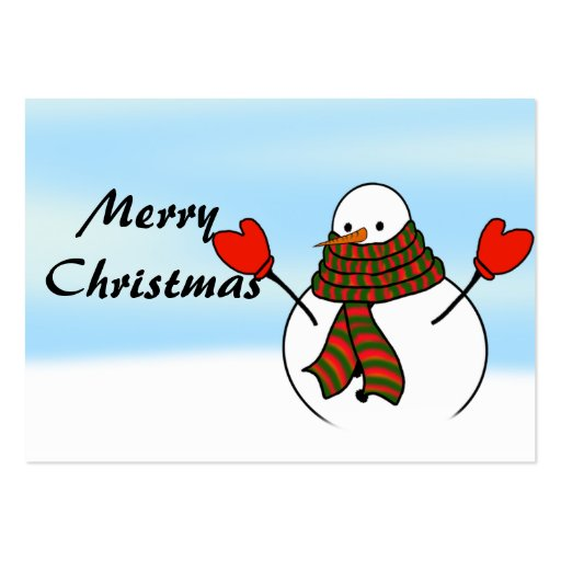 Snowman with Red Mittens and a Long Scarf Business Card Template