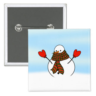 Snowman with Red Mittens and a Long Scarf Buttons