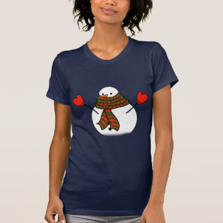 Snowman with Red Mittens and a Long Scarf T-Shirt