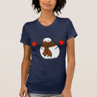 Snowman with Red Mittens and a Long Scarf T-shirts