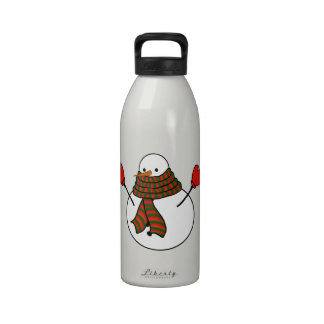Snowman with Red Mittens and a Long Scarf Drinking Bottle