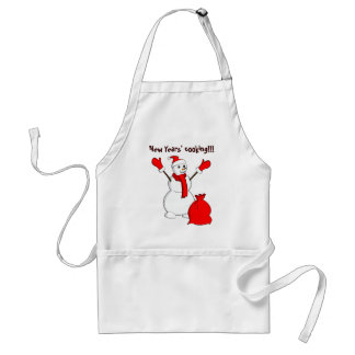 Snowman with red scarf and a sack adult apron