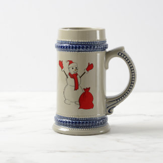 Snowman with red scarf and a sack coffee mug