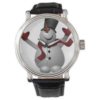 Snowman with Red Scarf Vintage Leather Strap Black Wristwatch