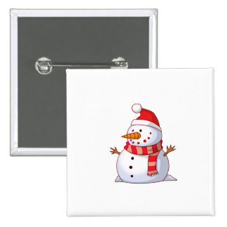 Snowman with Santa hat cartoon Buttons