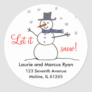 Snowman with Scarf Address Labels Classic Round Sticker