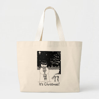 snowman with scarf and hat black and white art jumbo tote bag