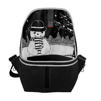 snowman with scarf and hat black and white art messenger bag