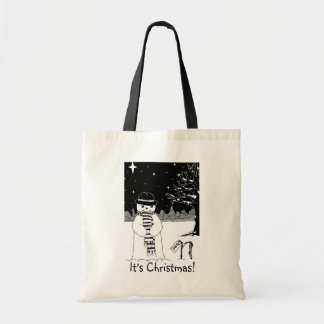 snowman with scarf and hat black and white art tote bag