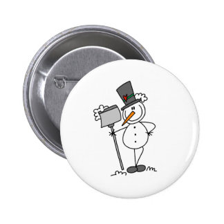 Snowman with Shovel Button