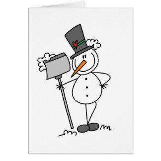 Snowman with Shovel Card