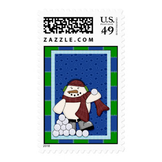 Snowman with Snowballs Postage Stamp