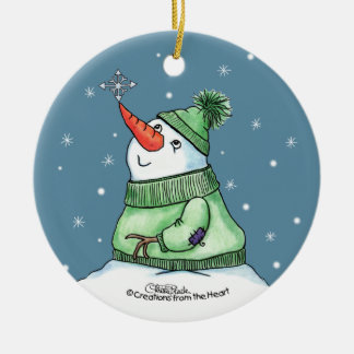Snowman with Snowflake on nose Ceramic Ornament