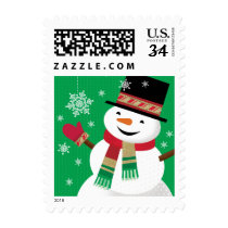 Snowman with Snowflake Postage Stamp