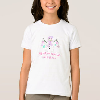 Snowman with Snowflakes and Cute Saying T-Shirt