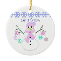 Snowman with Snowflakes Ceramic Ornament