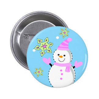snowman with snowflakes screen 2 inch round button