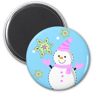 snowman with snowflakes screen 2 inch round magnet