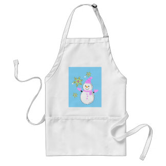 snowman with snowflakes screen adult apron