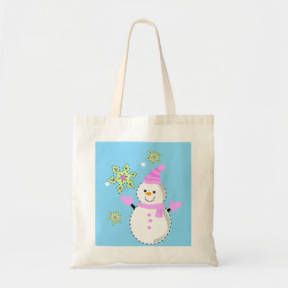 snowman with snowflakes screen budget tote bag