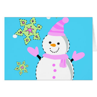snowman with snowflakes screen greeting card
