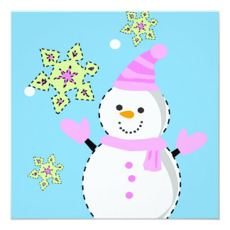 snowman with snowflakes screen 5.25x5.25 square paper invitation card